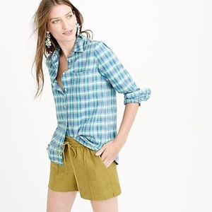 J.Crew Boy Blouse Green Blue Plaid Shirt